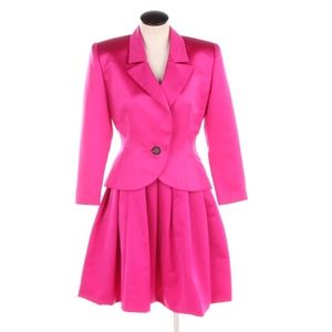 Vintage Oleg Cassini Black Tie Magenta Skirt Suit